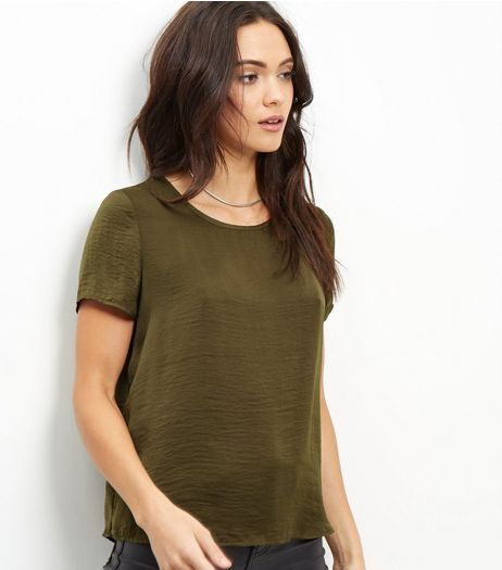 Khaki Sateen T-Shirt | New Look