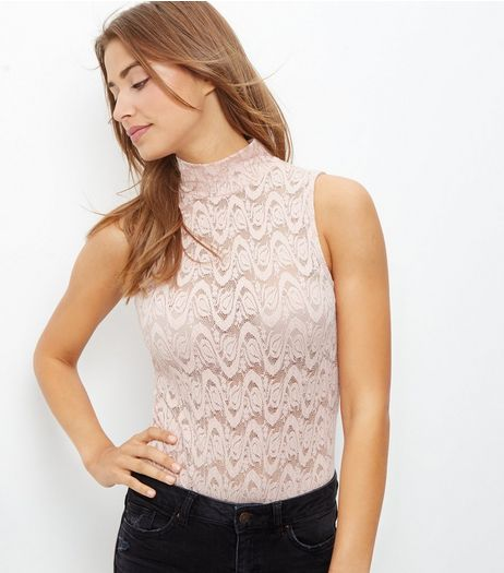 Shell Pink Lace Funnel Neck Bodysuit | New Look