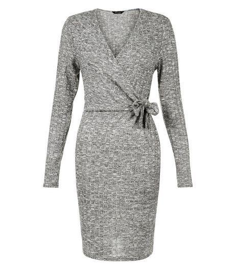 Grey Ribbed Wrap Tie Side Mini Dress  | New Look