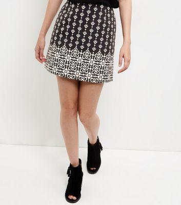 Gonna  donna Black Jacquard Tile Print A-Line Skirt