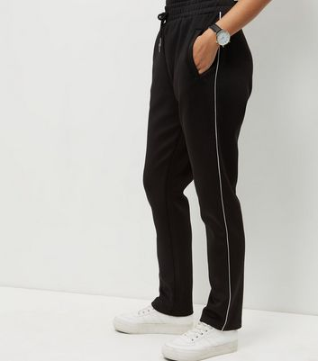 Black Contrast Trim Straight Leg Joggers