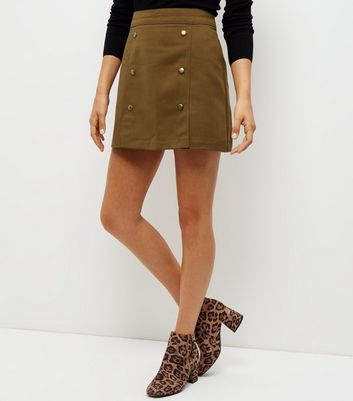Gonna  donna Olive Green Button Front A-Line Skirt