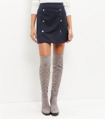 Gonna  donna Navy Button Front A-Line Skirt