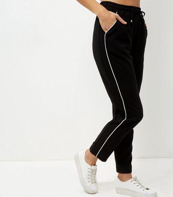 Black Contrast Trim Straight Leg Joggers