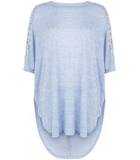 Blue Vanilla Blue Studded Cold Shoulder Batwing Top | New Look