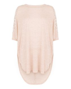 Blue Vanilla Pink Studded Cold Shoulder Batwing Top  | New Look