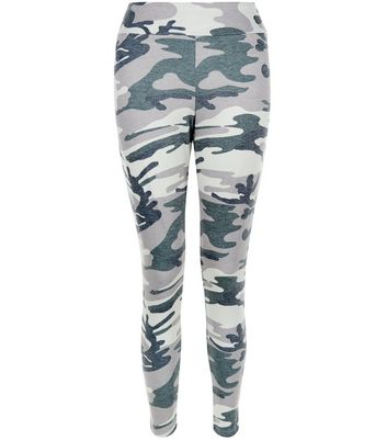 Petite Green Camo Print Leggings