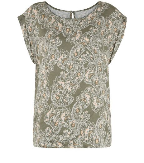 Apricot Khaki Paisley Print Cap Sleeve Top | New Look