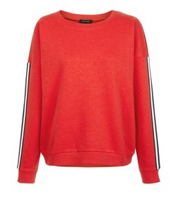 Red Stripe Tape Sleeve Sweater | New Look