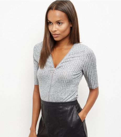 Silver Fine Knit Zip Front Top  | New Look