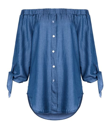 Loving This Blue Bardot Neck Tie Sleeve Top | New Look
