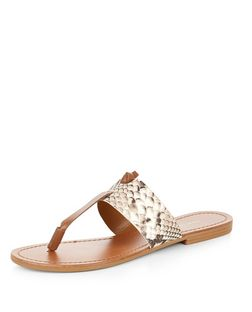Tan Leather Animal Print Contrast Sandals  | New Look