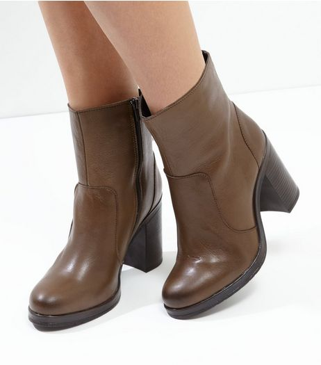 Brown Leather Block Heel Ankle Boots | New Look