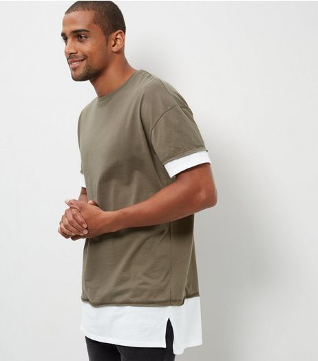 Khaki Layered Longline T-Shirt | New Look