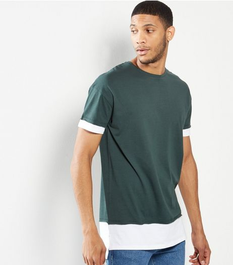 Green Longline Layered T-Shirt | New Look