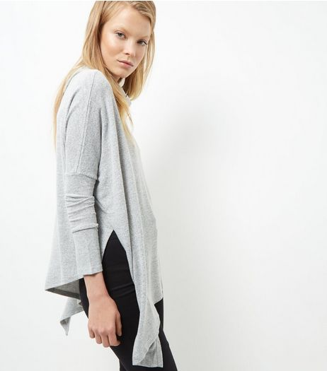 Pale Grey Fine Knit Cowl Neck Asymmetric Jumper | New Look