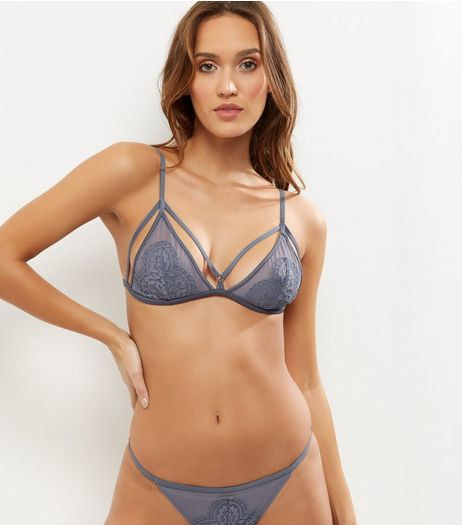 Grey Sheer Lace Strappy Bralet | New Look
