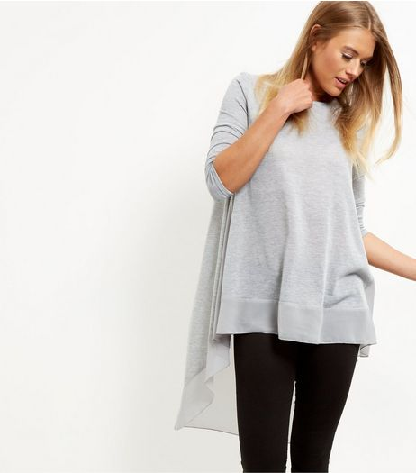 Grey Longline Dip Hem Top  | New Look