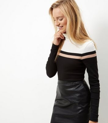 Black Colour Block Ribbed Turtle Neck Top