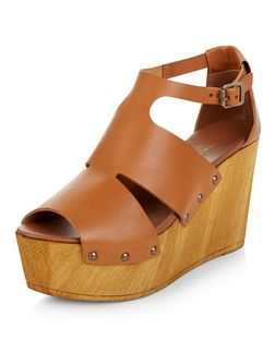 Tan Premium Leather Cut Out Platform Wedges  | New Look