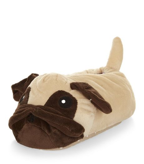 Teens Brown Pug Slippers | New Look