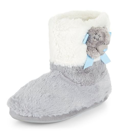Teens Grey Teddy Bear Faux Fur Slipper Boots | New Look