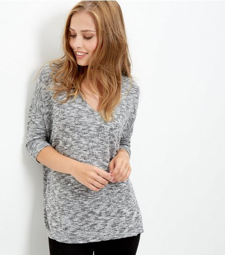 Pale Grey Fine Knit V Neck Top  | New Look