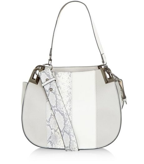 Grey Snakeskin Print Panel Shoulder Bag | New Look
