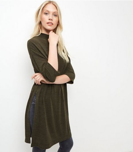 Khaki Fine Knit 3/4 Sleeve Split Side Longline Top  | New Look