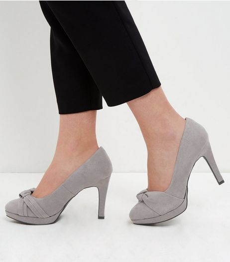 Wide Fit Grey Comfort Knotted Strap Platform Heels  | New Look