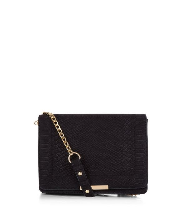 Black Snakeskin Texture Chain Shoulder Bag