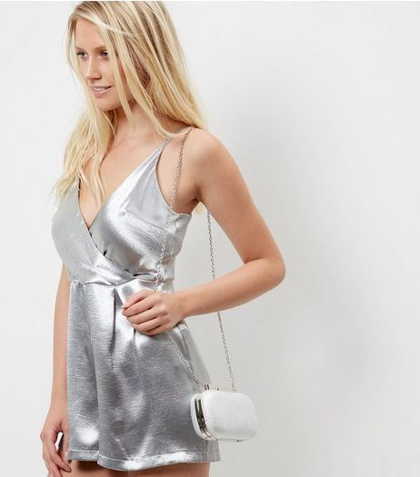 Silver Textured Bow Box Clutch | New Look