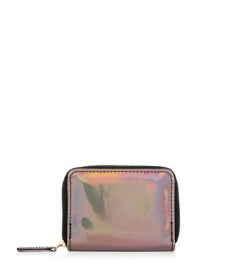 Pewter Holographic Zip Around Card Holder