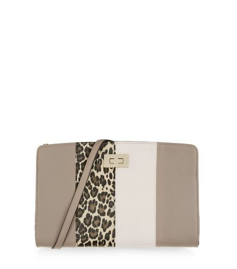 Grey Leopard Print Panelled Clutch | New Look