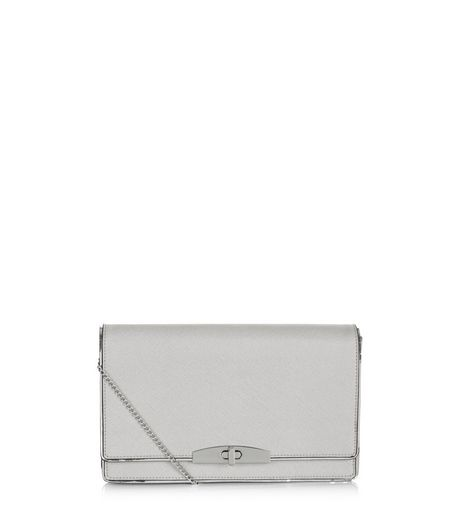 Grey Leather-Look Clutch  | New Look
