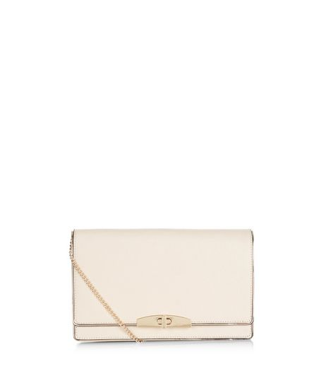 Cream Leather-Look Clutch | New Look
