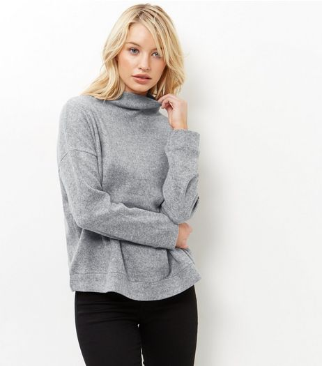 Grey Fine Knit Funnel Neck Sweater | New Look