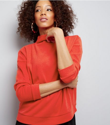 Red Funnel Neck Long Sleeve Sweater  | New Look