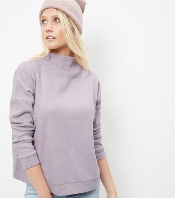 Shell Pink Fine Knit Funnel Neck Sweater