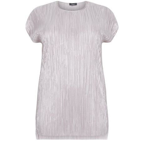 Curves Pink Metallic Pleated T-Shirt | New Look