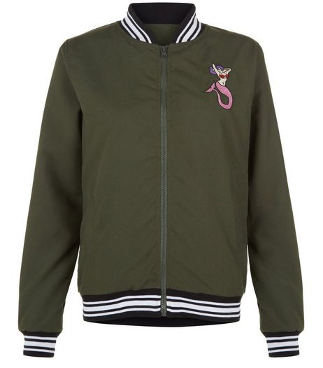 Heartbreak Khaki Mermaid Embroidered Stripe Trim Bomber Jacket | New Look