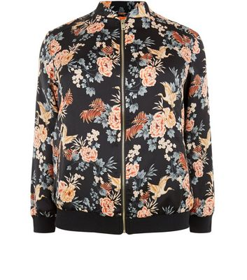 curves-black-sateen-floral-print-bomber-jacket