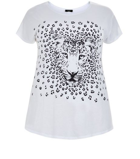Curves White Leopard Print T-Shirt | New Look
