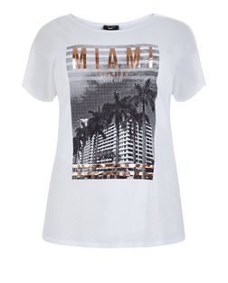 Curves White Miami Print T-Shirt | New Look