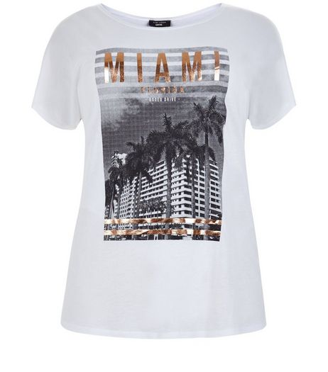 Curves White Miami T-Shirt | New Look