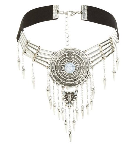 Silver Disc Spike Drop Choker  | New Look