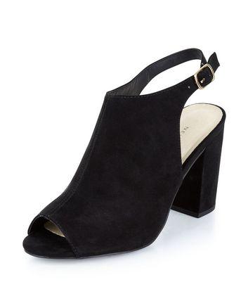 Sandalo  donna Wide Fit Black Comfort Suedette Sling Back Heels