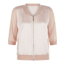 Shell Pink Contrast 3/4 Sleeve Bomber Jacket  | New Look
