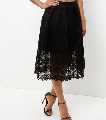 Black Lace Balloon Midi Skirt