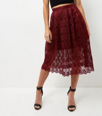 Burgundy Lace Balloon Midi Skirt